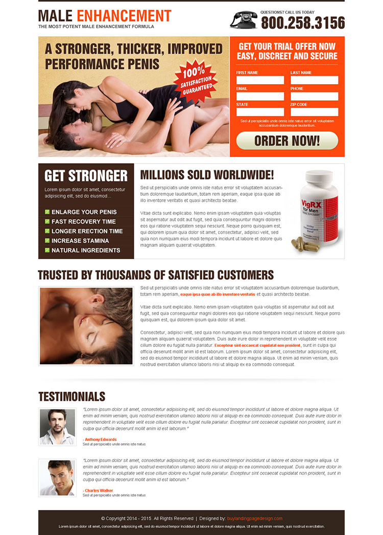 male enhancement product lead capture landing page design templates