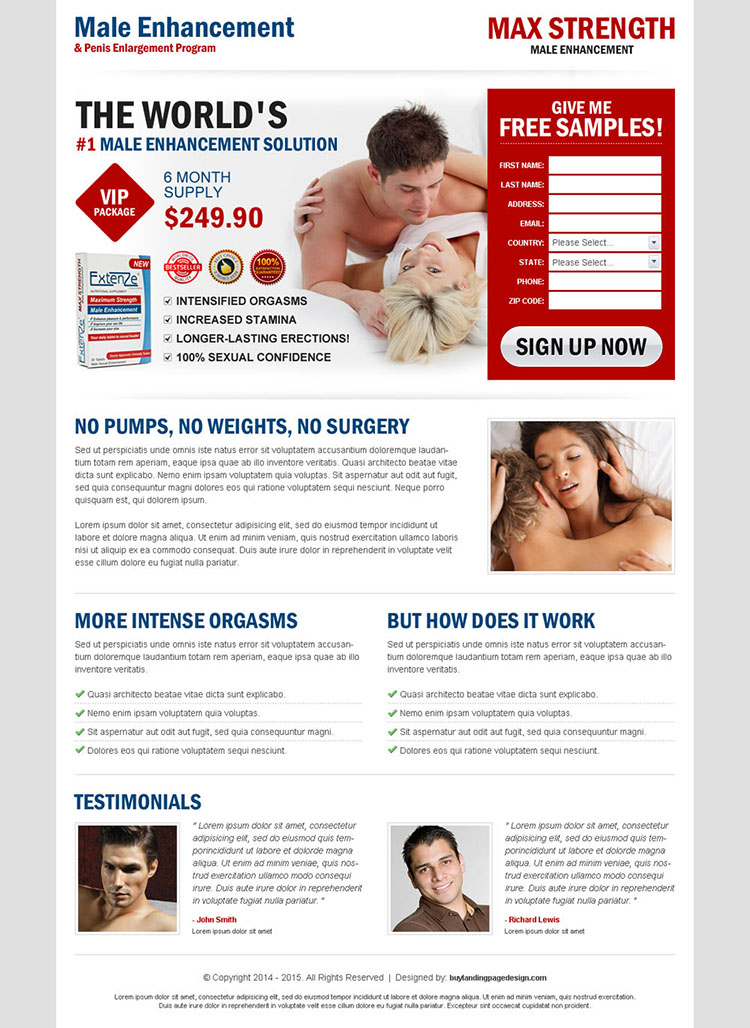 male enhancement product clean and effective landing page template design to increase your lead capture