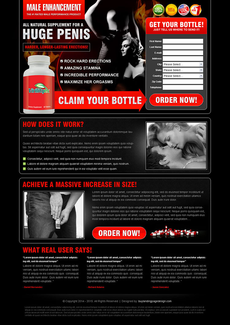 dark male enhancement product lead capture page design to increase sale of your product