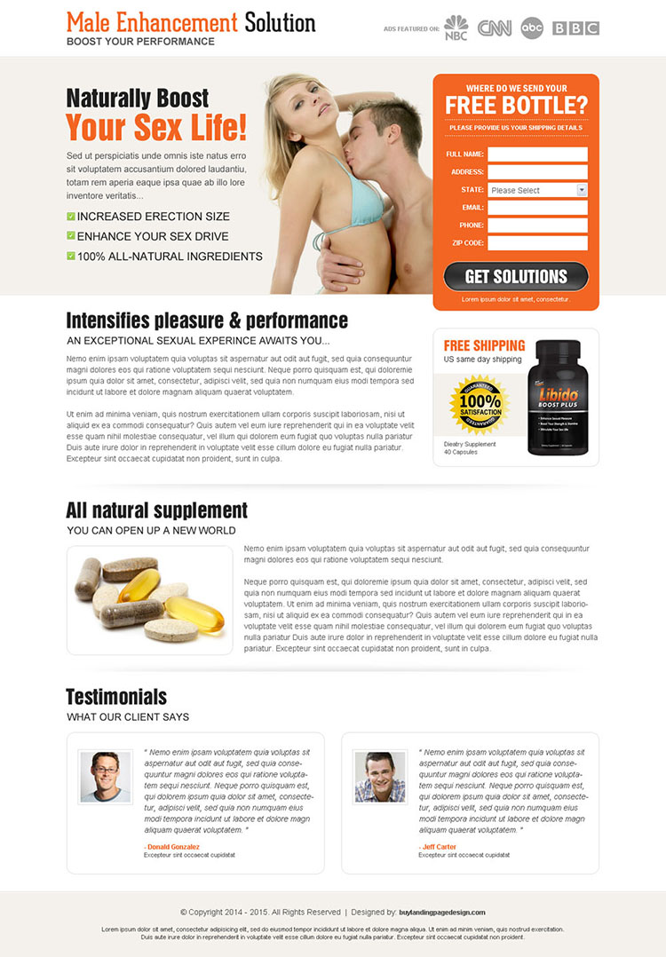 male enhancement solution lead capture landing page design