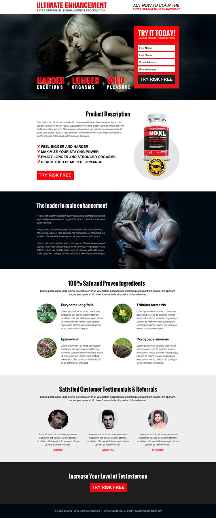 ultimate male enhancement lead capture converting responsive landing page design