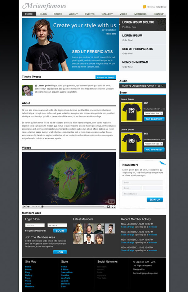 man fashion website template design psd