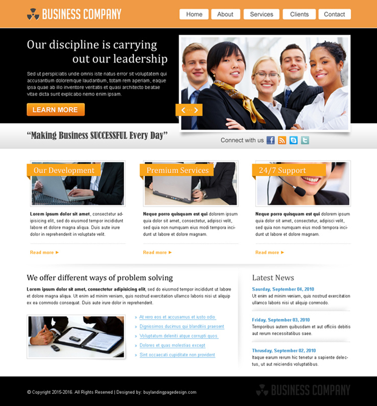 marketing business company website template design psd for sale