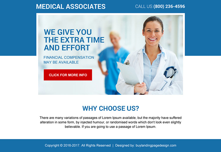 clean medical associates ppv landing page design