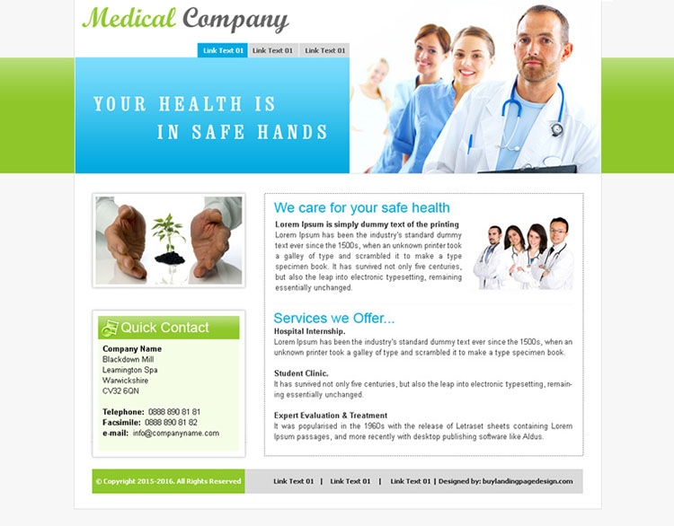 medical care company website template design psd for sale