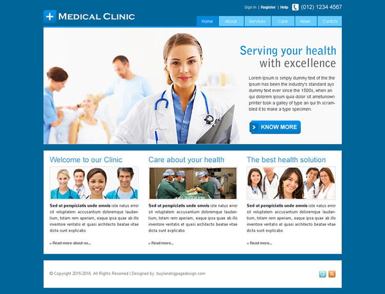 medical clinic website template design psd for sale
