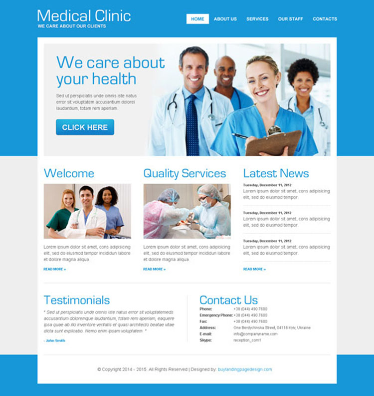 clean medical clinic effective website template psd design