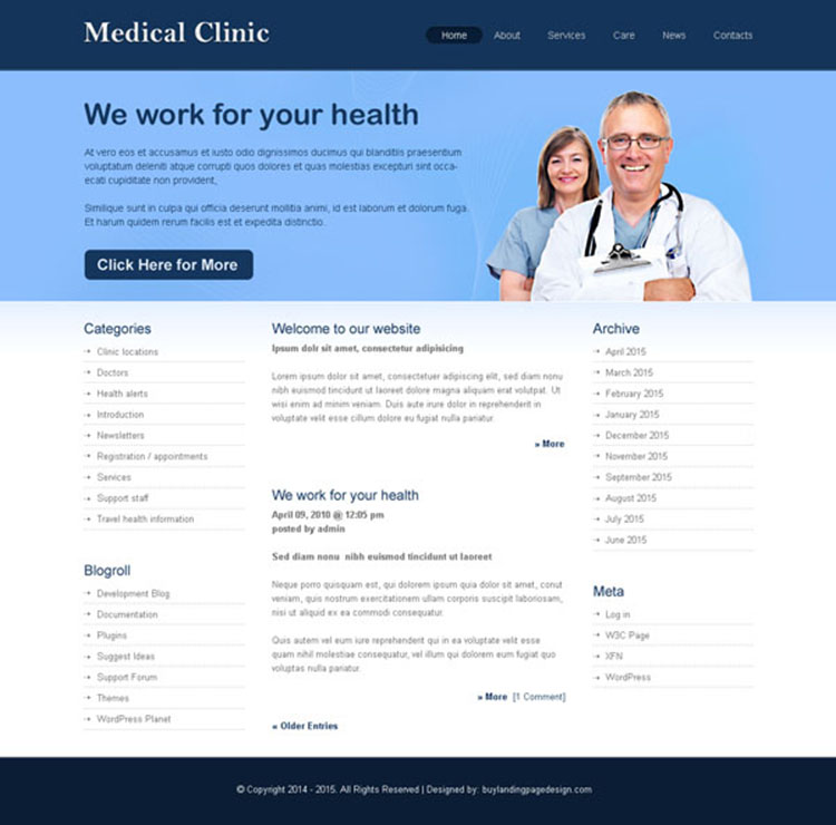 medical clinic clean and informative website template design psd