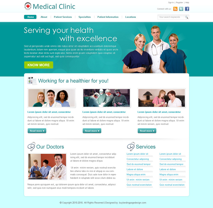 medical clinic professional website template design psd to create your website