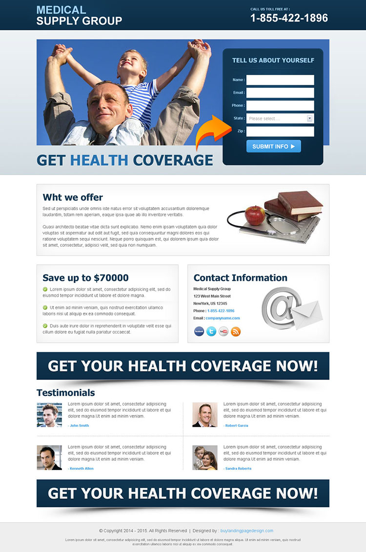 health coverage lead capture clean landing page
