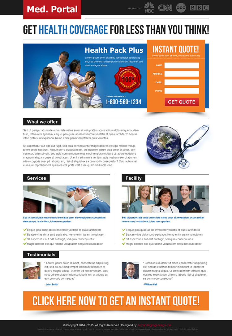 get health coverage instant quote creative and attractive landing page design to capture leads