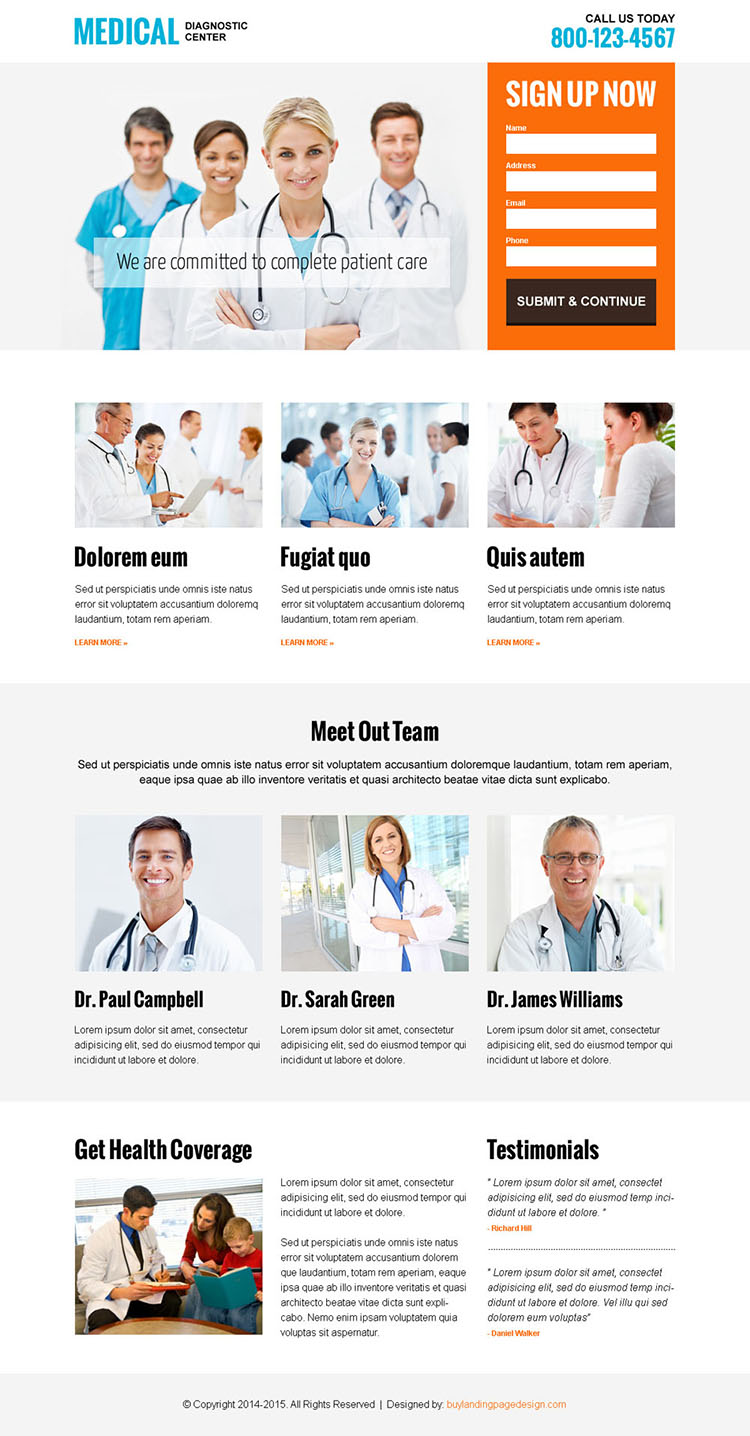 medical diagnostic center clean and informative landing page design template to capture leads