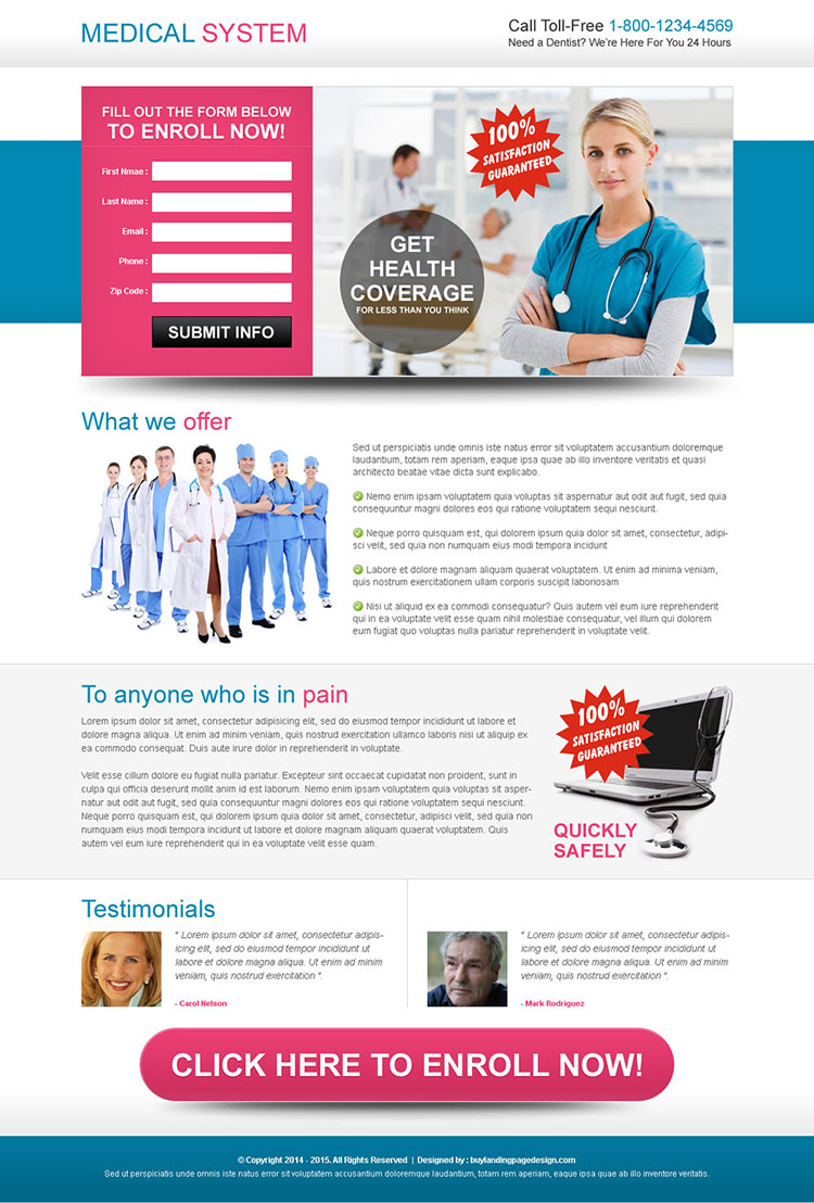 medical health coverage beautiful lead capture landing page