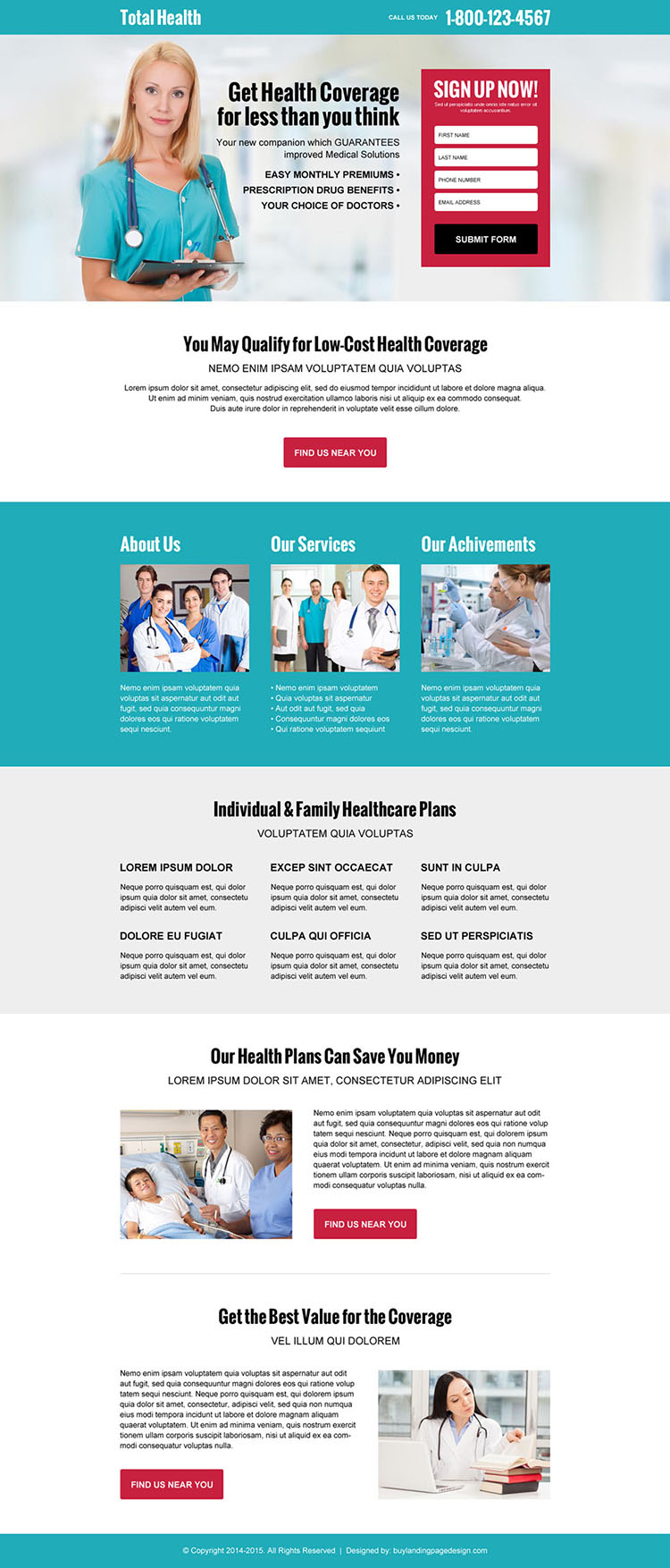 free medical health coverage quote high converting responsive landing page design