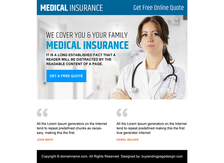 medical insurance free quote clean PPV design