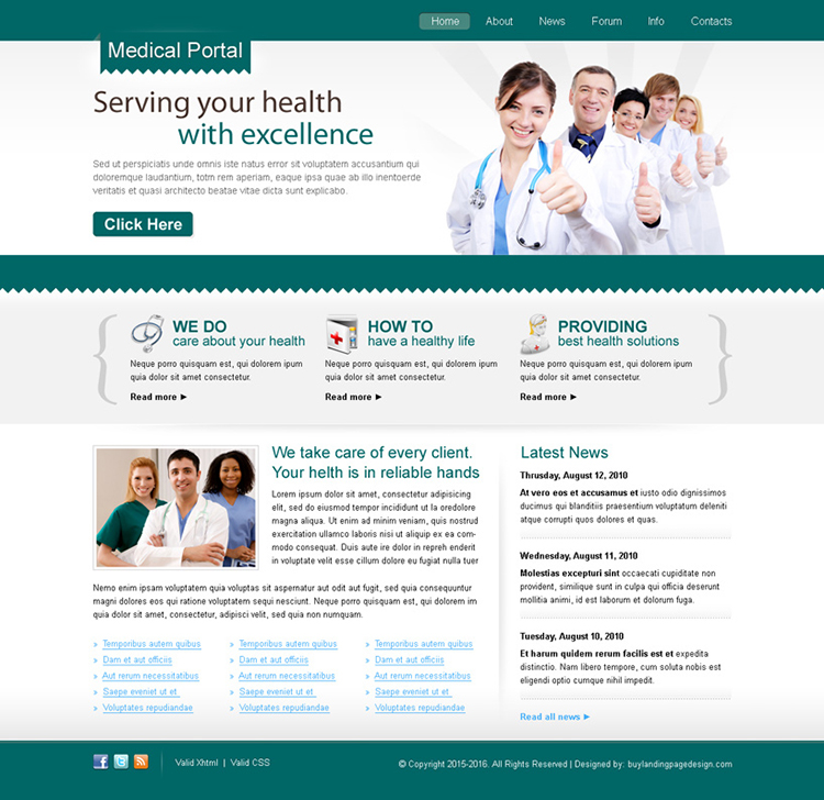 clean medical portal website template design psd