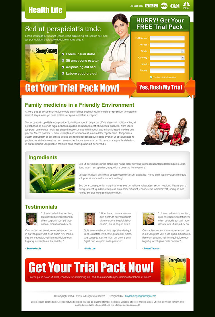 medical product lead capture landing page template