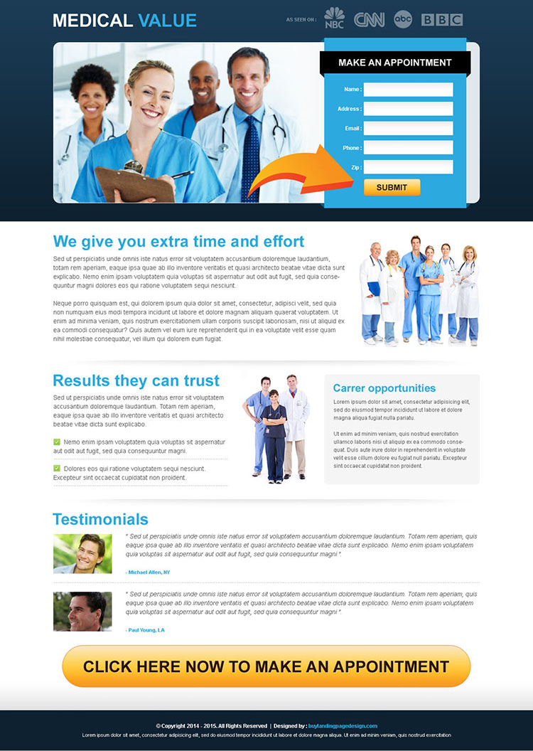 medical service make an appointment lead capture clean landing page template