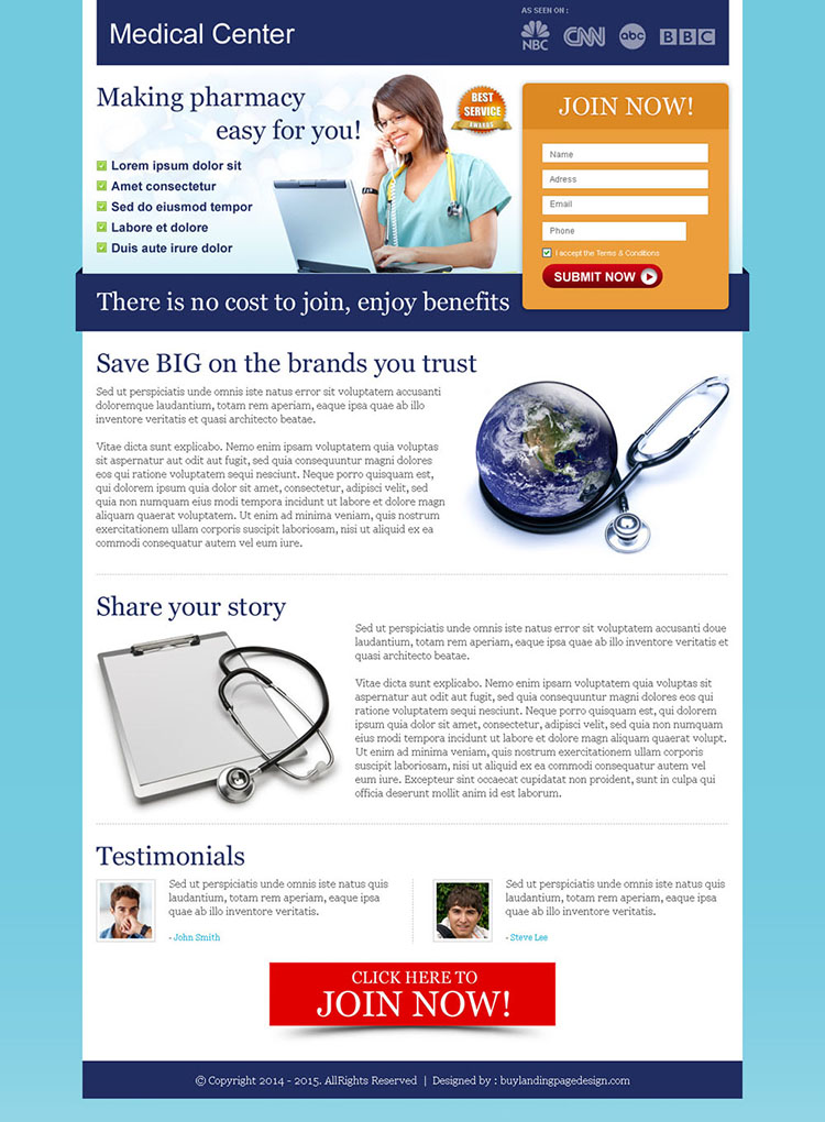 medical center small lead capture landing page design