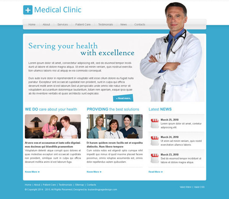 medical service clean and minimal website template design psd