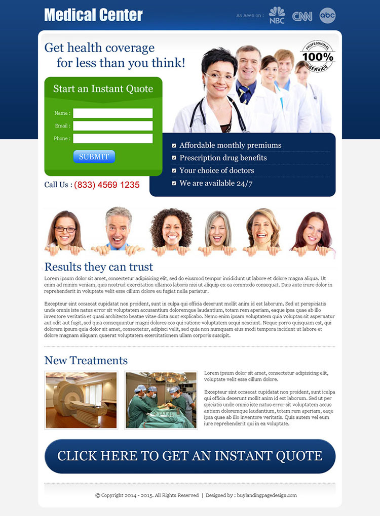 health insurance instant quote small lead capture landing page