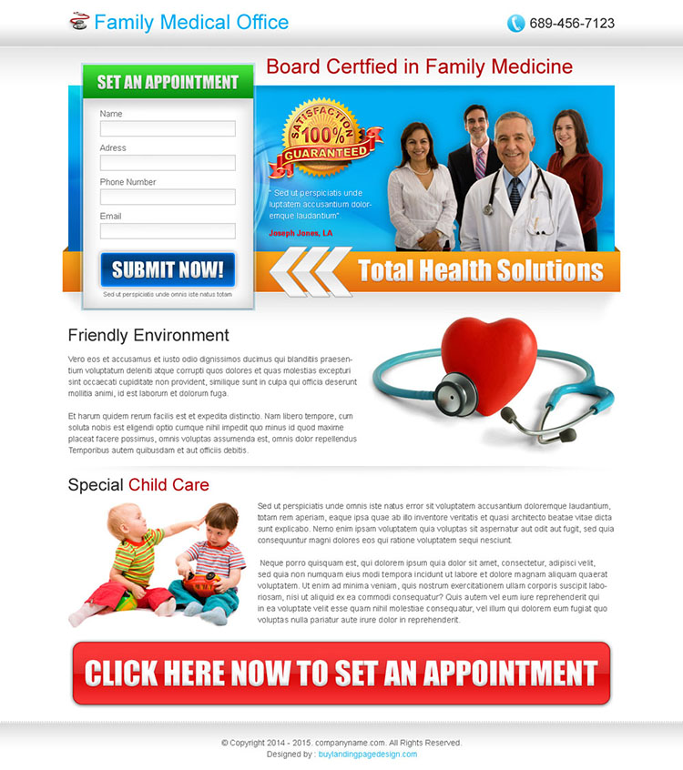 medical service lead capture landing page design