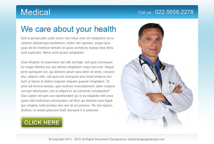 clean and converting medical service ppv landing page design