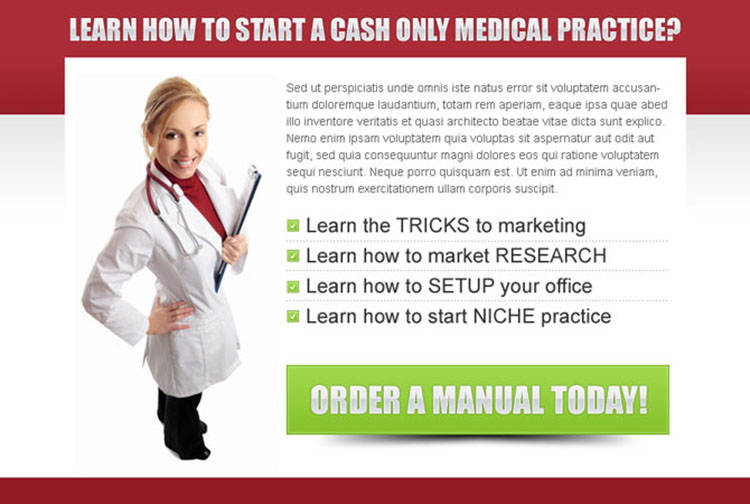 start a cash only medical practice clean ppv landing page design