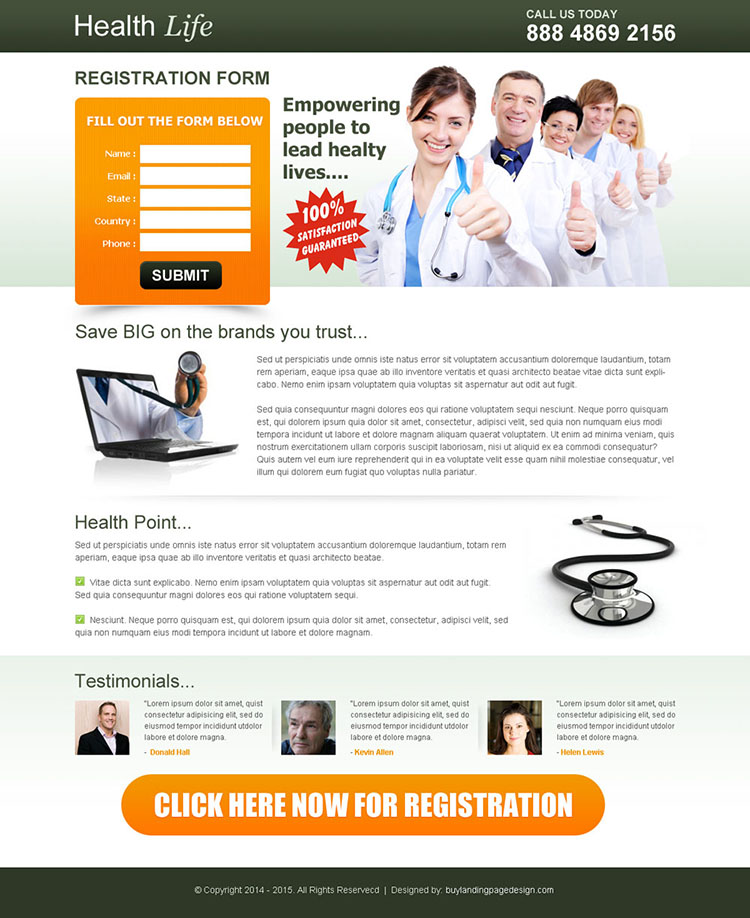 healthy life registration lead capture page to boost your leads