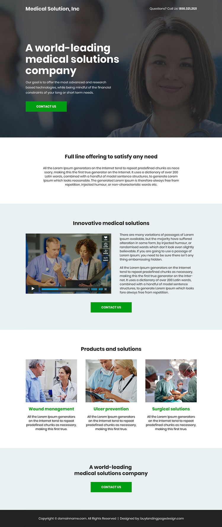 medical solution company bootstrap landing page design