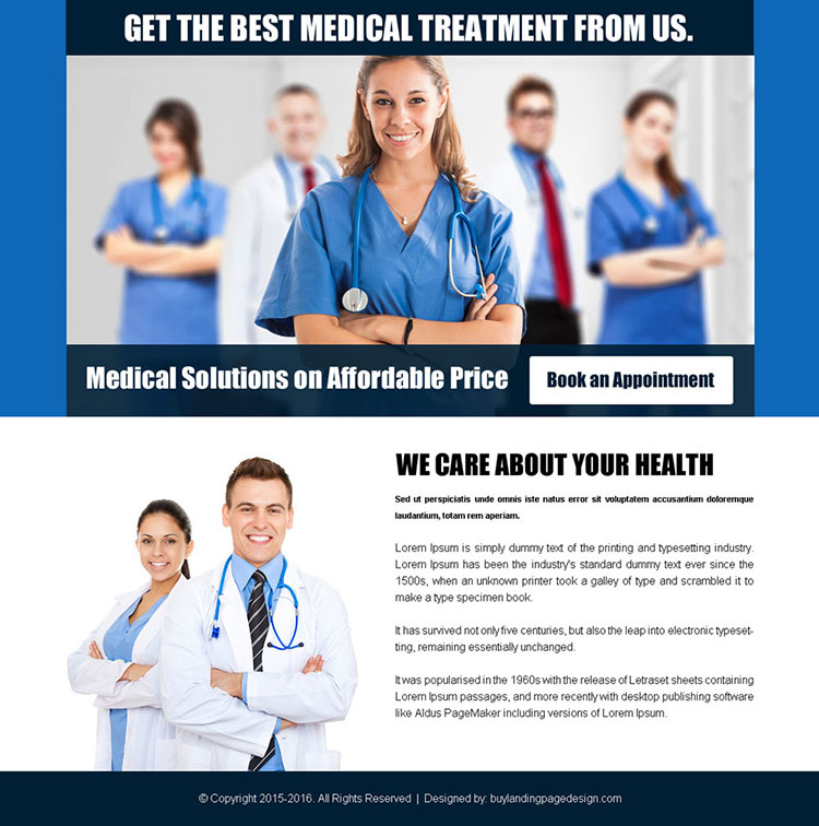 medical solutions on affordable price ppv landing page design