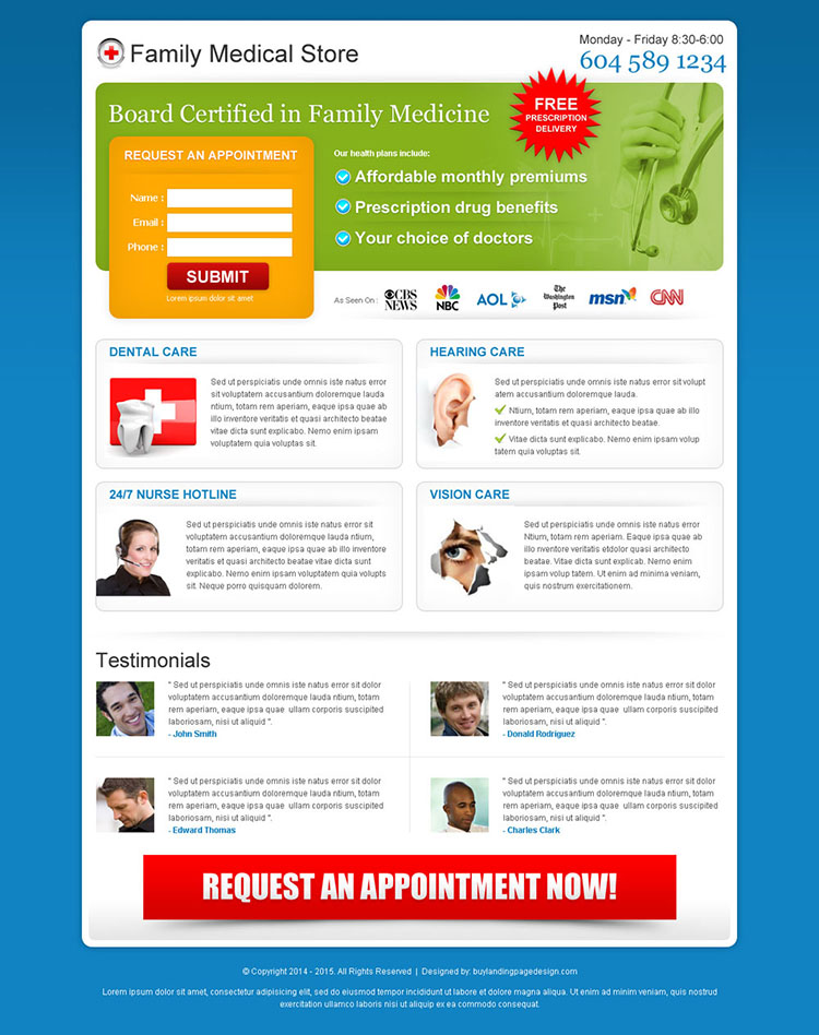 family medical store lead capture squeeze page design