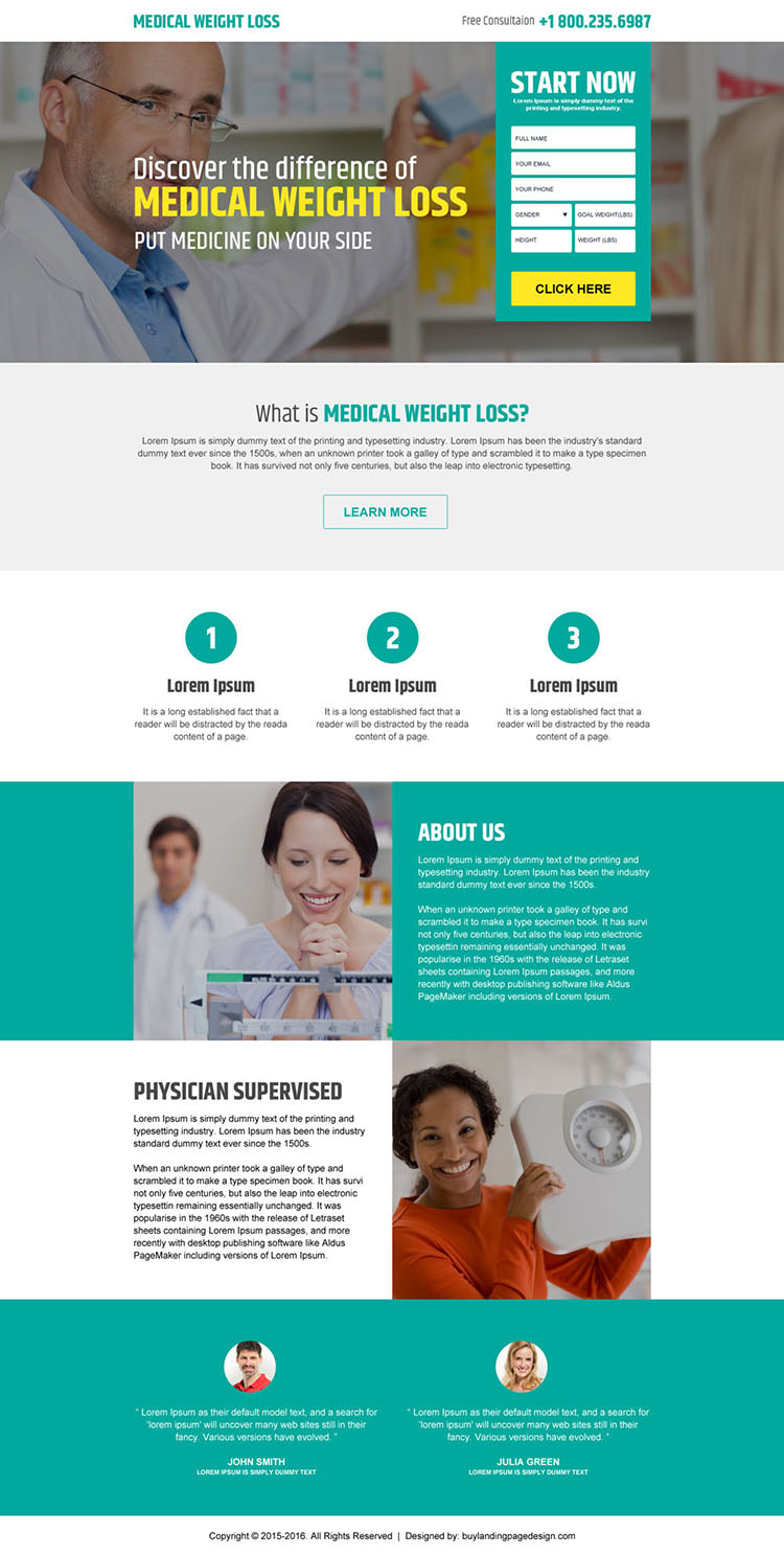 medical weight loss free consultation landing page design