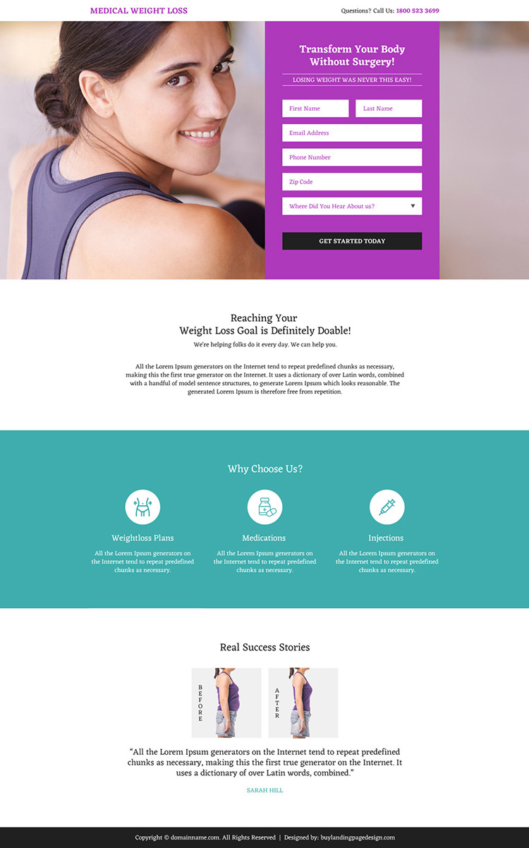 medical weight loss lead generating mini landing page