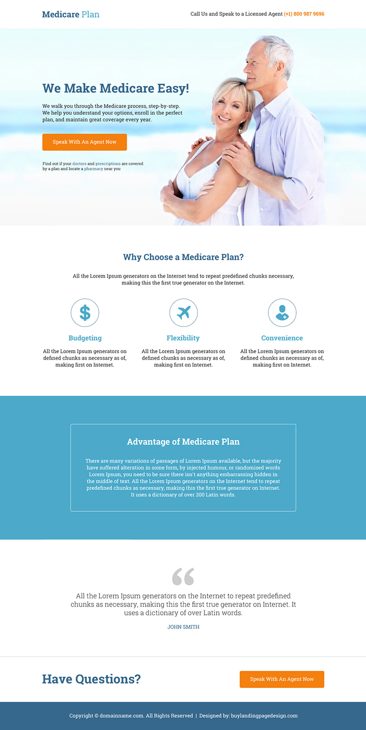 professional medicare plan responsive landing page