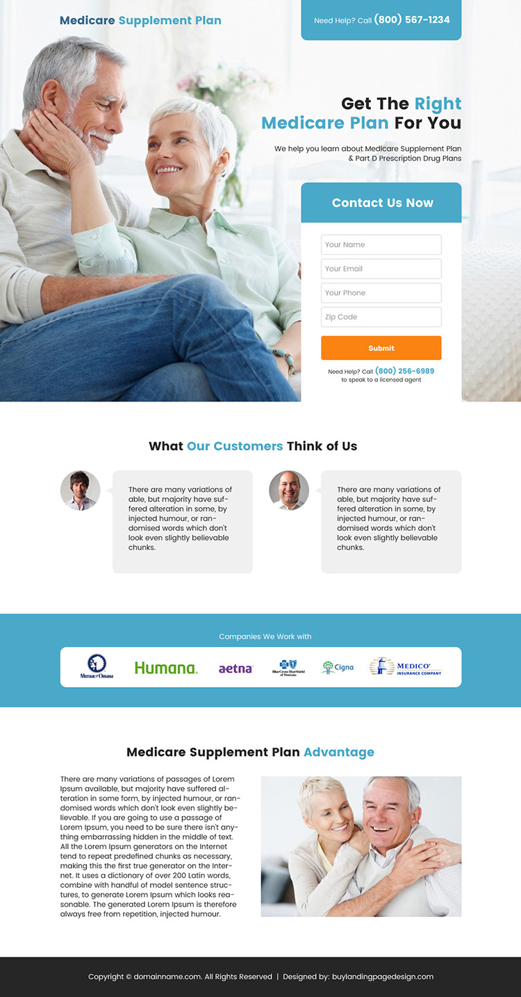 medicare supplement plan lead capture landing page design