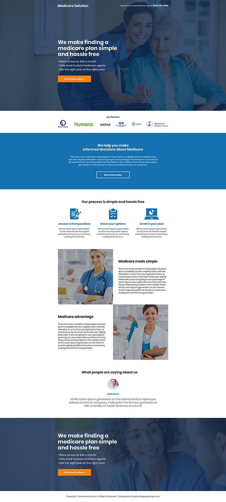 medicare solution mobile responsive landing page