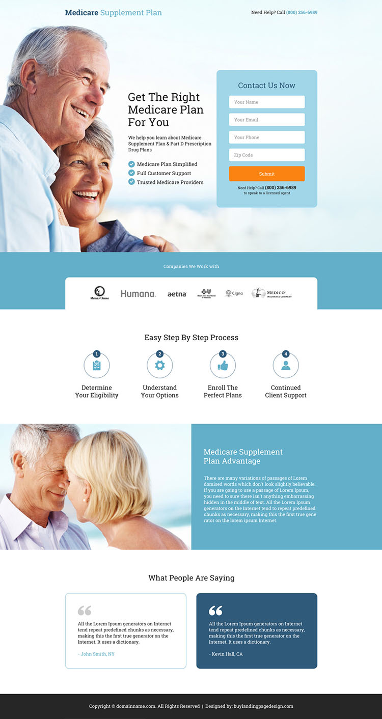 medicare supplement plan lead capturing landing page