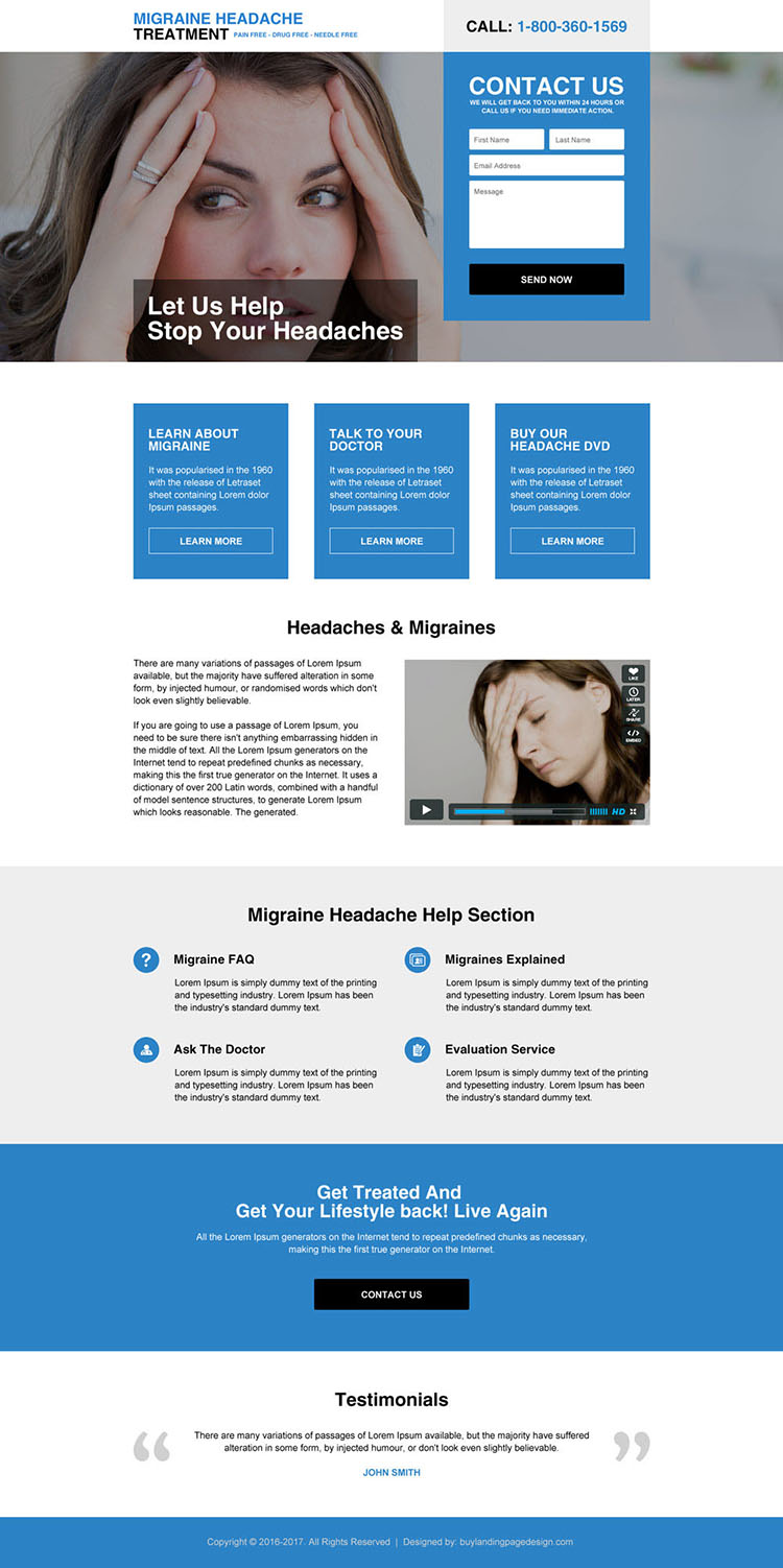 migraine headaches treatment landing page design