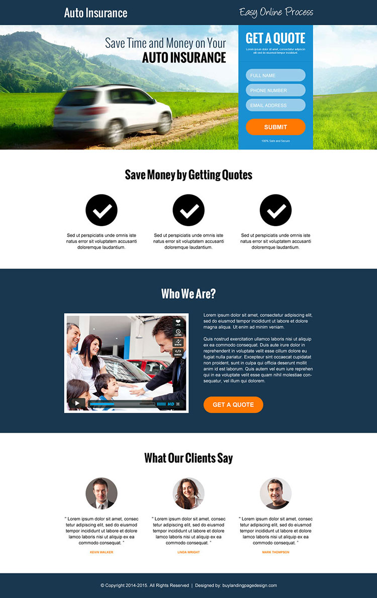 modern auto insurance lead capture landing page design template