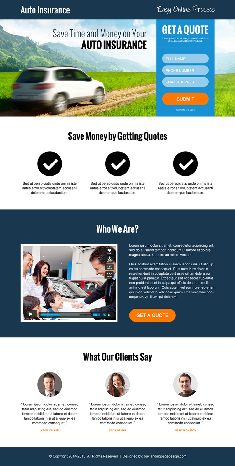 minimal auto insurance converting responsive landing page design