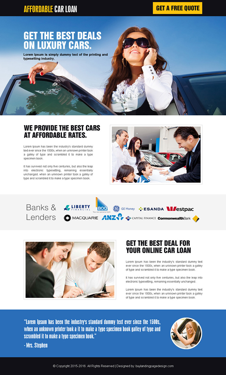minimal luxury car loan landing page design