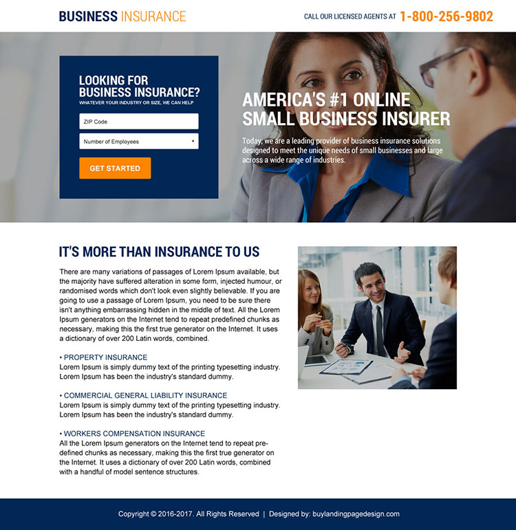 business insurance mini landing page design