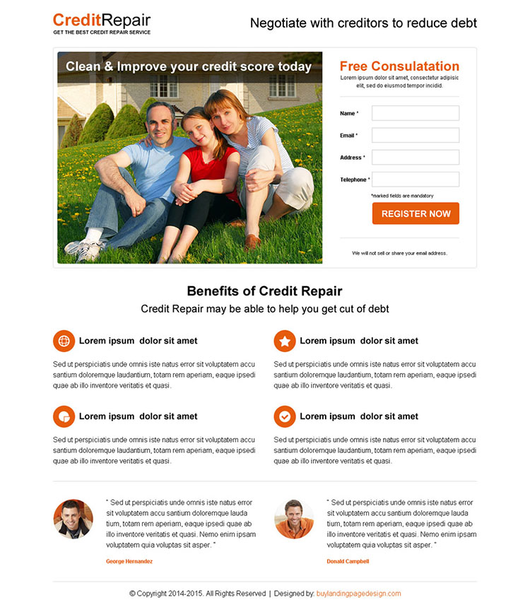 minimal looking credit repair high converting squeeze page design