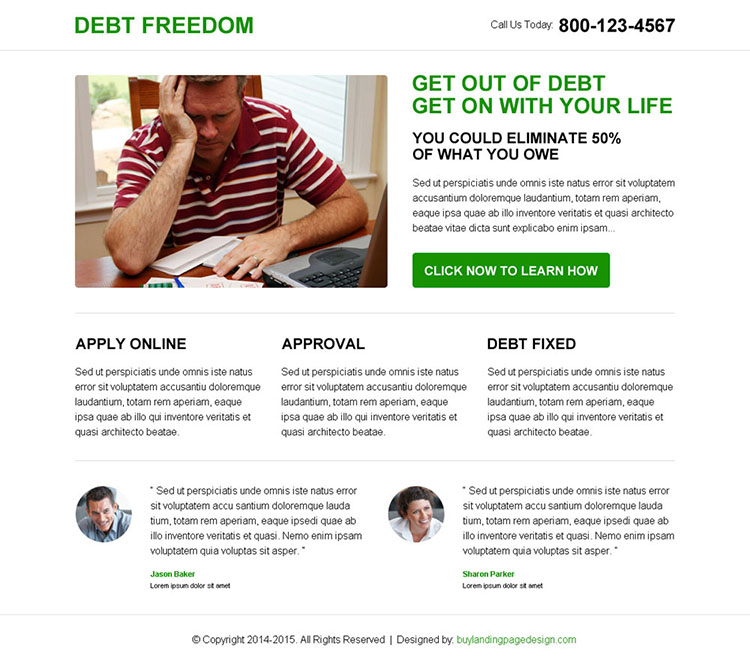 minimalist debt freedom clean call to action landing page