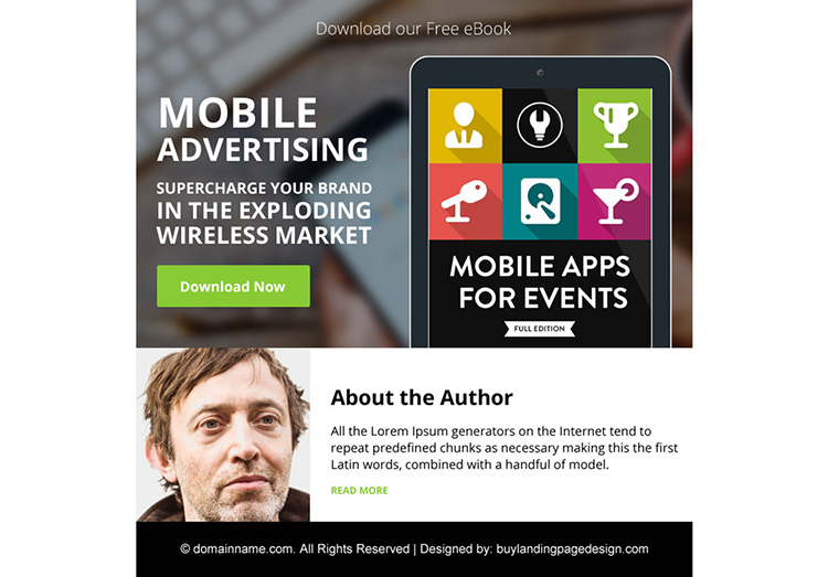 mobile advertising free ebook ppv landing page design