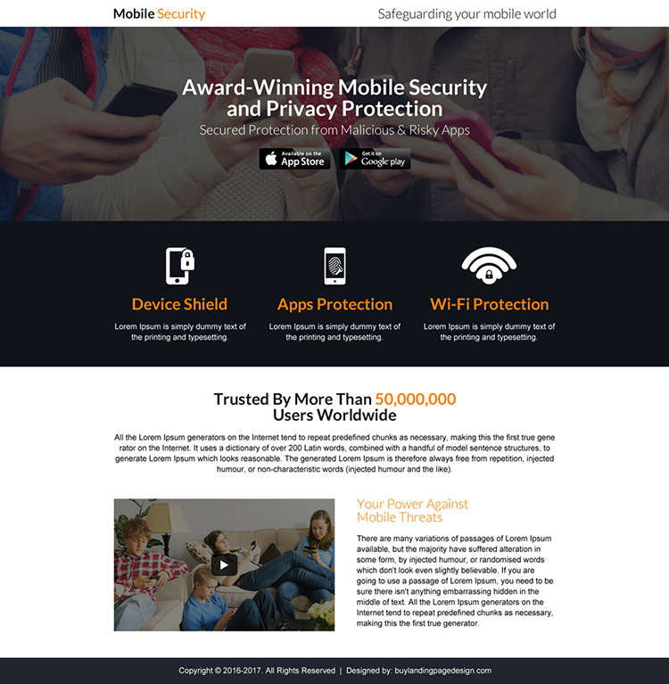 mobile security software landing page design