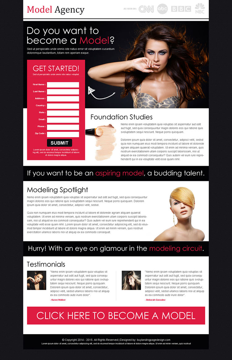 want to become a model attractive and appealing splash page design template