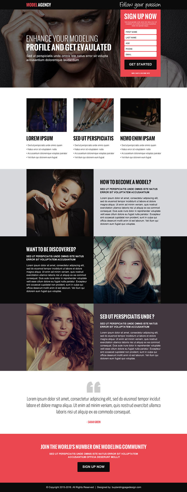 modelling agency sign up lead gen landing page design template