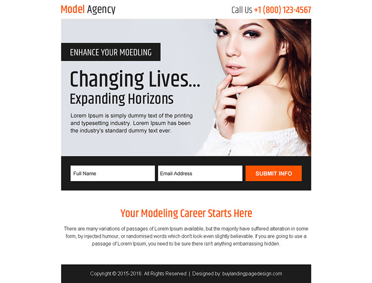 modelling agency sign up generating ppv landing page